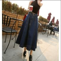 skirt Summer of 2019 S, m, l, XL, 2XL navy blue longuette commute High waist A-line skirt Solid color Type A 18-24 years old 71% (inclusive) - 80% (inclusive) other Korean version