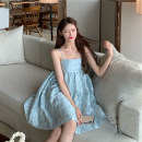 Dress Summer 2021 Black, blue and purple S, M Short skirt singleton  Sleeveless Sweet One word collar High waist Solid color zipper Princess Dress routine 18-24 years old Type A 81% (inclusive) - 90% (inclusive) other other Bohemia