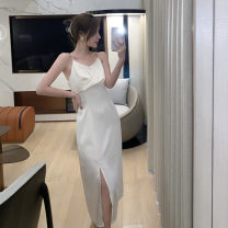 Dress Summer 2021 White, black S,M,L Mid length dress singleton  Sleeveless commute V-neck Loose waist Solid color Socket A-line skirt routine Others 25-29 years old Type A Korean version 51% (inclusive) - 70% (inclusive) other other
