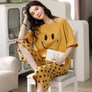 Pajamas / housewear set female Other / other Size m for women (70-98 kg), size L for women (98-115 kg), size XL for women (115-135 kg), and size 2XL for women (130-145 kg) cotton Short sleeve Cartoon Leisure home summer Thin money Crew neck Cartoon animation Cropped Trousers Socket youth 2 pieces