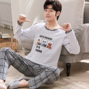 Pajamas / housewear set male Other / other cotton Long sleeves Cartoon Leisure home autumn Thin money Crew neck Cartoon animation trousers Socket youth 2 pieces rubber string 81% (inclusive) - 95% (inclusive) pure cotton printing