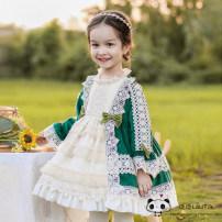 Lolita / soft girl / dress lolita Green (cotton lining), green (velvet version inside) 70cm, about 6 months old, 80cm, about 9 months old, 90cm, about 1 year old, 100cm, about 2 years old, 110cm, about 3 years old, 120cm, about 4 years old, 130cm, about 5 years old Winter, spring, spring and autumn