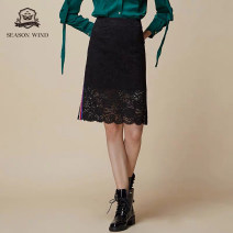skirt Summer 2020 S,M,L Dark black Bk3 Middle-skirt commute High waist A-line skirt other Type A 31% (inclusive) - 50% (inclusive) Monsoon other Sticking cloth lady