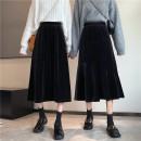 skirt Winter 2020 L,XL,2XL,3XL Black (fishtail), black (A-line skirt) longuette commute High waist A-line skirt Solid color Type A 18-24 years old 31% (inclusive) - 50% (inclusive) other polyester fiber Three dimensional decoration Korean version