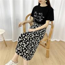skirt Summer 2020 L,XL,2XL,3XL,4XL black Mid length dress commute High waist A-line skirt Broken flowers Type A 18-24 years old 31% (inclusive) - 50% (inclusive) other other Three dimensional decoration, zipper Korean version