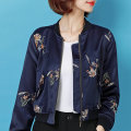 short coat Fall of 2018 SMLXLXXL Navy blue Long sleeve Short paragraph conventional Single Self-cultivation conventional Commuting Half open collar zipper Plant flowers Bomovo 25-29 years old B18QB50 Embroidered zipper Polyester 100%