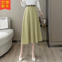 skirt Spring 2021 S,M,L,XL Black, green, coffee Middle-skirt Sweet High waist Umbrella skirt Solid color Type A 25-29 years old 30% and below other Other / other cotton Collage / stitching