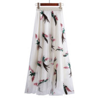 skirt Summer of 2018 S, M white Mid length dress gorgeous Natural waist Fairy Dress Solid color Type A 25-29 years old 81% (inclusive) - 90% (inclusive) brocade Willful Diao Hu nylon 101g / m ^ 2 (including) - 120g / m ^ 2 (including)