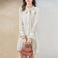 Dress Spring 2021 Beige S M L XL Middle-skirt singleton  Long sleeves commute Crew neck middle-waisted Solid color Socket other pagoda sleeve Others 25-29 years old Type H Paradise of awakening lady Button More than 95% other polyester fiber Polyester 100% Pure e-commerce (online only)