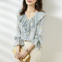 shirt Blue yellow S M Summer 2021 other 96% and above Long sleeves commute Short style (40cm < length ≤ 50cm) V-neck Single row multi button pagoda sleeve other 25-29 years old Straight cylinder Paradise of awakening Korean version SXCS2l096 Other 100% Pure e-commerce (online only)