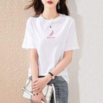 T-shirt Pink White Black S M L Summer 2021 Short sleeve Crew neck Straight cylinder Regular other commute cotton 96% and above 25-29 years old Simplicity originality Paradise of awakening SXT2l010 Cotton 100% Pure e-commerce (online only)