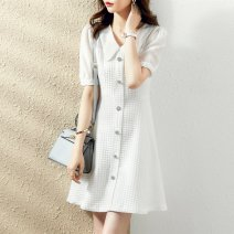 Dress Summer 2021 White black S M L XL Short skirt singleton  Short sleeve commute Doll Collar Solid color Socket routine 25-29 years old Type A Paradise of awakening lady SXL2l234 More than 95% polyester fiber Polyester 100% Pure e-commerce (online only)