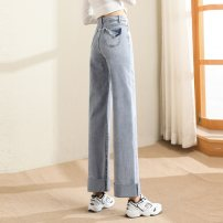 Jeans Spring 2021 Denim light blue S M L XL trousers Natural waist Straight pants routine 18-24 years old Wash button Cotton elastic denim light colour Paradise of awakening 71% (inclusive) - 80% (inclusive) Pure e-commerce (online only)