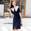 Dress Summer 2020 Navy, rice, apricot S M L Mid length dress singleton  Short sleeve commute Doll Collar middle-waisted other Socket routine 25-29 years old Type H Paradise of awakening Korean version SXL2O130 More than 95% polyester fiber Polyester 100%