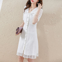 Dress Summer 2021 White black S M L XL Mid length dress singleton  Short sleeve commute Doll Collar High waist Solid color Single breasted routine 25-29 years old Type H Paradise of awakening lady Patchwork lace SXL2l121 51% (inclusive) - 70% (inclusive) nylon Pure e-commerce (online only)