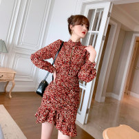 Dress Spring 2021 Leopard print flower S M L XL Short skirt singleton  Long sleeves commute stand collar High waist Broken flowers zipper A-line skirt routine Others 30-34 years old Type A Snow Wolf rural printing More than 95% Silk and satin other New polyester fiber 100%