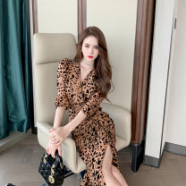 Dress Autumn 2020 Leopard Print S M L XL 2XL Middle-skirt singleton  Long sleeves street V-neck High waist Leopard Print zipper Irregular skirt shirt sleeve Others 30-34 years old Type X Snow Wolf More than 95% other other New polyester fiber 100% Pure e-commerce (online only) Europe and America