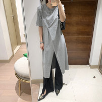 Dress Summer 2021 Dark green, grey, black Average size Mid length dress singleton  Short sleeve commute Crew neck High waist Decor Socket other routine Others 25-29 years old Type H Simplicity More than 95% brocade cotton