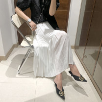 skirt Summer 2021 Average size White, black Mid length dress Versatile High waist A-line skirt Solid color Type H 25-29 years old More than 95% other polyester fiber