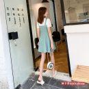Dress Summer 2021 green XS,M Short skirt Two piece set Short sleeve commute Crew neck High waist Solid color zipper A-line skirt routine Others Type A Korean version Chiffon
