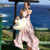 Dress Summer 2020 Graph color S,M,L,XL longuette singleton  Sleeveless Sweet middle-waisted Decor Irregular skirt Hanging neck style Print, open back Chiffon Ruili