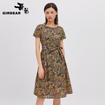 Dress Spring 2021 S M L XL Mid length dress singleton  Short sleeve Crew neck High waist Socket routine Others 30-34 years old Type H Girdard / brother-in-law printing More than 95% cotton Cotton 100% Same model in shopping mall (sold online and offline)