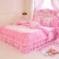 Bedding Set / four piece set / multi piece set cotton other Plants and flowers 133x72 Tang Qianyue cotton 4 pieces 40 Pink beauty, dream garden, pink, Campanula powder, Campanula purple, rose perfume (3 colors), take notes, angel beauty, secret garden. Bed skirt Qualified products Princess style 100%