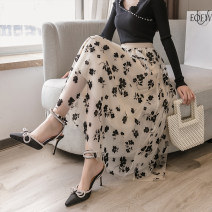 skirt Spring 2021 Average size Apricot, blue longuette commute High waist A-line skirt Decor Type A 25-29 years old 8649A 30% and below other polyester fiber Flocking Korean version