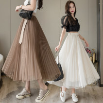 skirt Summer 2021 Average size Khaki, apricot, black Mid length dress commute High waist A-line skirt Solid color Type A 18-24 years old 31% (inclusive) - 50% (inclusive) other Bandage Korean version