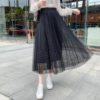 skirt Summer 2021 Average size Apricot, white, pink, blue, black Mid length dress Versatile High waist Pleated skirt Solid color Type A 18-24 years old other Fold, nail bead
