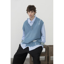 Vest / vest Youth fashion EKCOOKIES Gray green, gray blue 1-s, 2-m, 3-L Other leisure standard Woolen vest routine Four seasons V-neck youth 2020 Japanese Retro E201MJ033 Socket Rib hem cotton Cotton 95% other 5% hole Hollowing out More than 95%
