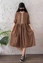 Dress Spring 2021 Black, brown Average size Mid length dress singleton  Long sleeves Sweet Crew neck Loose waist Socket routine Other / other 51% (inclusive) - 70% (inclusive) cotton Mori