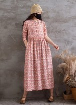 Dress Summer 2021 black , Pink , Apricot , yellow Average size Mid length dress singleton  Long sleeves Sweet Crew neck Loose waist Socket routine Other / other 51% (inclusive) - 70% (inclusive) cotton Mori