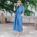 Dress Winter 2020 White, red, orange, yellow, lake blue, light pink Average size Mid length dress singleton  Short sleeve Sweet V-neck Loose waist Socket routine Other / other 51% (inclusive) - 70% (inclusive) cotton Mori