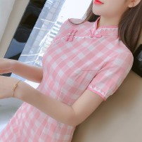 Dress Summer 2020 S,M,L,XL Mid length dress singleton  Short sleeve commute stand collar High waist lattice Socket A-line skirt routine Others 18-24 years old Type A Korean version other other