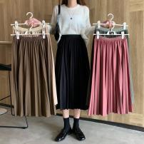 skirt Autumn 2020 Average size Black, rose, apricot, dark green, coffee Mid length dress commute High waist Pleated skirt Type A 18-24 years old 8691M 51% (inclusive) - 70% (inclusive) polyester fiber Korean version