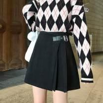 skirt Winter 2020 S,M,L,XL,2XL,3XL,4XL black Short skirt commute High waist A-line skirt Solid color Type A More than 95% Wool nylon Pleating, asymmetry, zipper Korean version