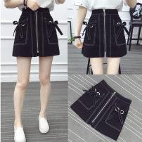 skirt Autumn of 2019 M,L,XL,2XL,3XL,4XL black Short skirt Versatile Natural waist A-line skirt Solid color Type A other nylon Pocket, zipper