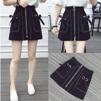 skirt Autumn of 2019 M,L,XL,2XL,3XL,4XL black Short skirt Versatile Natural waist A-line skirt Solid color Type A other nylon Pocket, zipper
