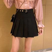 skirt Spring 2020 M,L,XL,2XL,3XL,4XL black Short skirt Versatile High waist Pleated skirt Solid color Type A 91% (inclusive) - 95% (inclusive) other polyester fiber Button, zipper