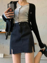 skirt Summer 2021 S,M,L,XL,2XL,3XL,4XL black Short skirt commute High waist Denim skirt Solid color Type A More than 95% Denim other Pocket, button, zipper, split Korean version