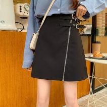 skirt Spring 2020 M,L,XL,2XL,3XL,4XL black Short skirt Versatile High waist Irregular Solid color Type A More than 95% other other Asymmetric, zipper