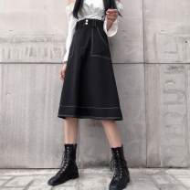 skirt Spring 2020 S,M,L,XL,2XL,3XL,4XL black Mid length dress Versatile High waist A-line skirt Solid color Type A More than 95% other other Button, zipper, open line decoration