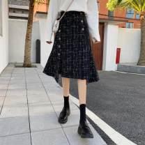 skirt Winter 2020 S,M,L,XL,2XL,3XL,4XL black longuette commute High waist A-line skirt lattice Type A 25-29 years old Wool polyester fiber Asymmetric, button, zipper