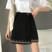 skirt Spring 2020 M,L,XL,2XL,3XL,4XL Black, blue Short skirt Versatile High waist Irregular Solid color Type A More than 95% other other Embroidery, buttons, zippers