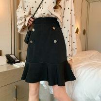 skirt Summer 2020 M,L,XL,2XL,3XL,4XL black Mid length dress Versatile High waist Ruffle Skirt Solid color Type A other polyester fiber Ruffles, buttons, zippers