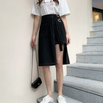 skirt Summer 2020 S,M,L,XL,2XL,3XL,4XL Black, blue Mid length dress Versatile High waist Irregular Solid color Type A More than 95% other other Lace up, asymmetric, zipper