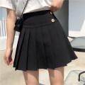 skirt Summer 2020 M,L,XL,2XL,3XL,4XL Black side 2 buttons, black side pocket 1 button, gray side pocket 1 button Short skirt Versatile High waist Pleated skirt Solid color Type A 51% (inclusive) - 70% (inclusive) other nylon Button, zipper