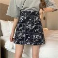 skirt Summer 2020 M,L,XL,2XL,3XL,4XL black Short skirt commute High waist A-line skirt Decor Type A 51% (inclusive) - 70% (inclusive) other other Zipper, print Korean version