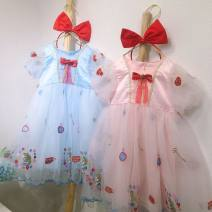 Dress Mermaid Skirt Blue, mermaid Skirt Pink, red hair band female Other / other 100cm,110cm,120cm,130cm,140cm Other 100% spring and autumn princess Long sleeves Solid color blending other Seven, eight, three, six, two, five, nine, four Chinese Mainland